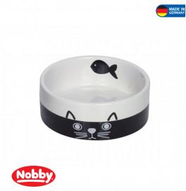 "Cat ceramic bowl ""FACE"" Black-White"
