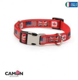 COLLAR MET BUCK FLAG RED - 25 MM