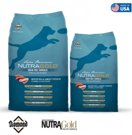 Nutra Gold Grain Free Dog Formula-Whitefish and Sweet Potato 2.25KG/13.6KG