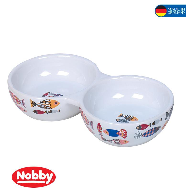 "Ceramic Cat Double Bowl ""FISH"" grey 22,0 x 4,0cm; 2 x 0,13 L"