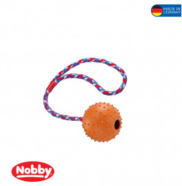 Rubber ball with nops, bell and rope assorted colours 7cm