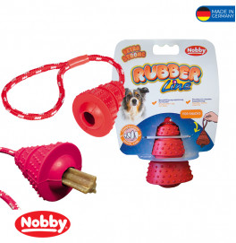 Rubber cone with rope red Cone: 8cm; Rope:28cm