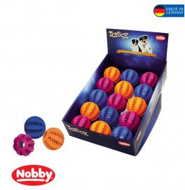 Rubber dental ball assorted colours 7,5cm