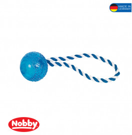 TPR Ball with rope blue 26cm
