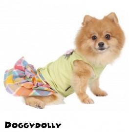 Yellow Shirt and Multi Color Skirt Dress