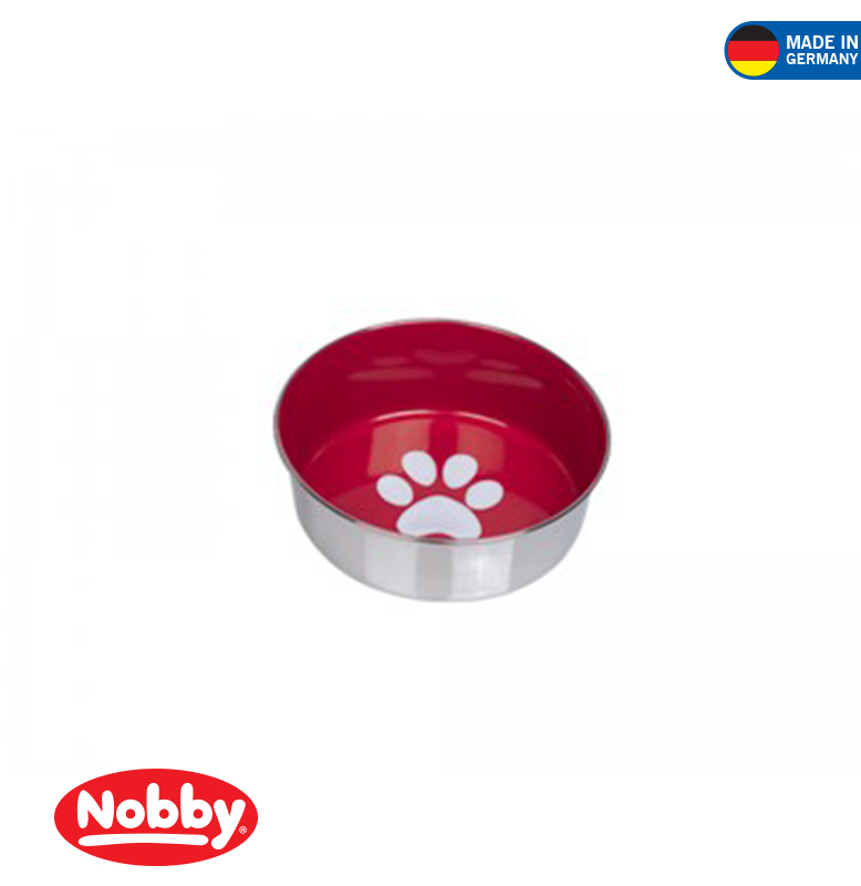 STAINLESS STEEL BOWL HEAVY PAW ANTI SLIP RED