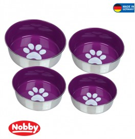 STAINLESS STEEL BOWL HEAVY PAW ANTI SLIP PURPLE