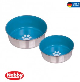 STAINLESS STEEL BOWL HEAVY PAW ANTI SLIP LIGHT BLUE