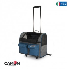 BLUE AND GREY PET CARRIER WITH 2 FRONT POCKETS  44X40X25CM