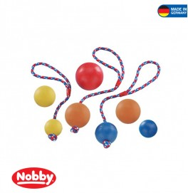 RUBBER BALL WITH ROPE ASSORTED COLOURS