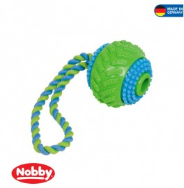 Ball with rope multi colour 8 cm