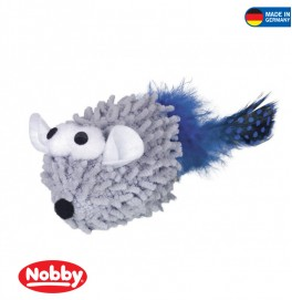Mopy Mouse with catnip with feather 6 cm Grey