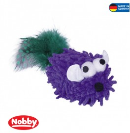 Mopy Mouse with catnip with feather 6 cm Purple