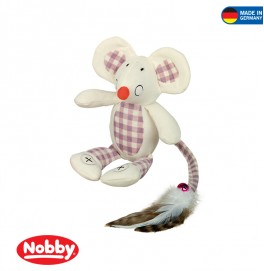 Mouse with crackle ears 18 cm Creme