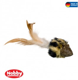 Catnip mouse with plush & feathers 8 cm / 20 cm