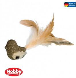 Catnip bird with plush & feathers 5 cm / 17 cm