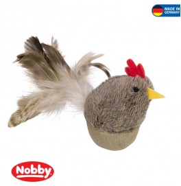 Plush stand-up chicken with feathers & catnip 8 cm