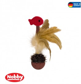 Plush stand-up tball with feathers & catnip 165 cm