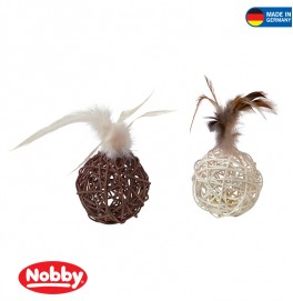 Nestball with feather and bell 16 cm