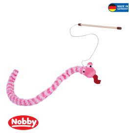 Road with plush snake Stab 255 cm  Band mit  Spielzeug 118 cm mit Cat Pink