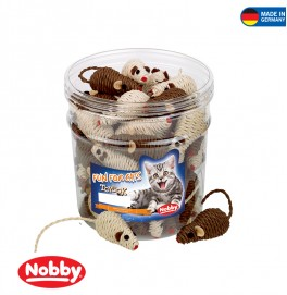 Toy CAT SISAL MOUSE BROWN AND BEIGE  TUBE 7CM